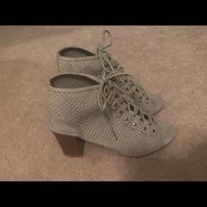 Shoes - Grey chunky heels size 7.5 never worn!!!